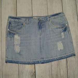 Mudd Distressed Denim Mini Skirt 11